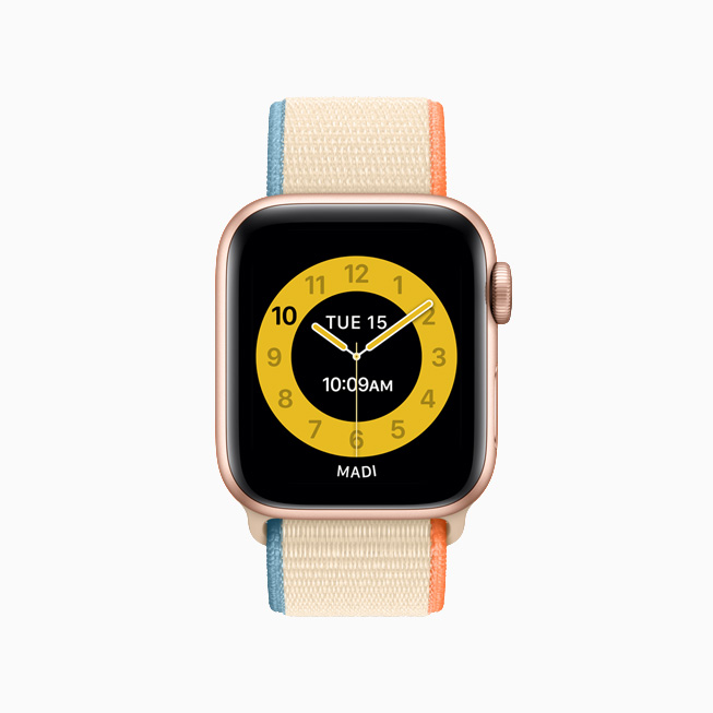 La carátula amarilla Horario Escolar en el Apple Watch.