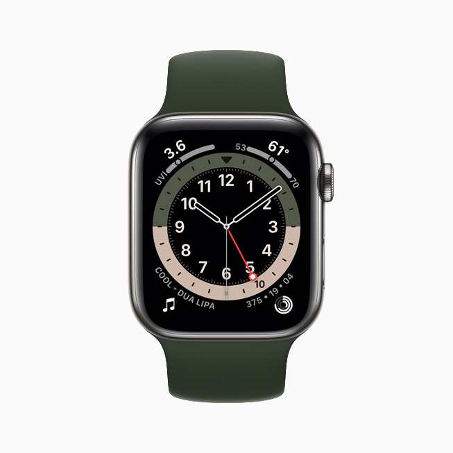 Le cadran GMT affiché sur l'Apple Watch Series 6.
