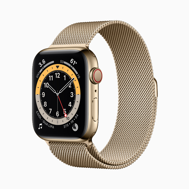 Apple Watch Series 6 with yellow gold stainless steel case.