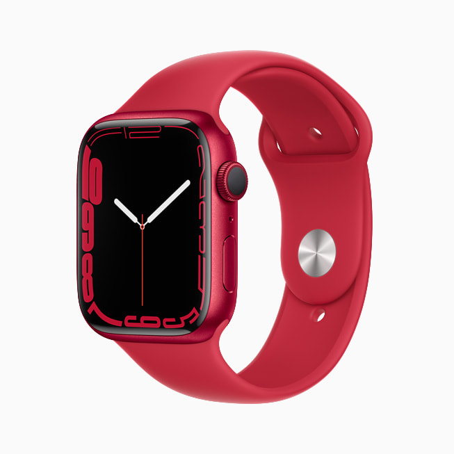 The Contour face on Apple Watch Series 7 is shown on the PRODUCT(RED) aluminum case.