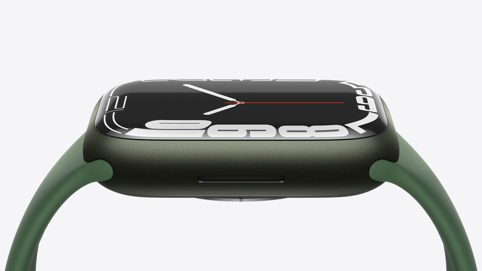 The side of Apple Watch Series 7 is shown.