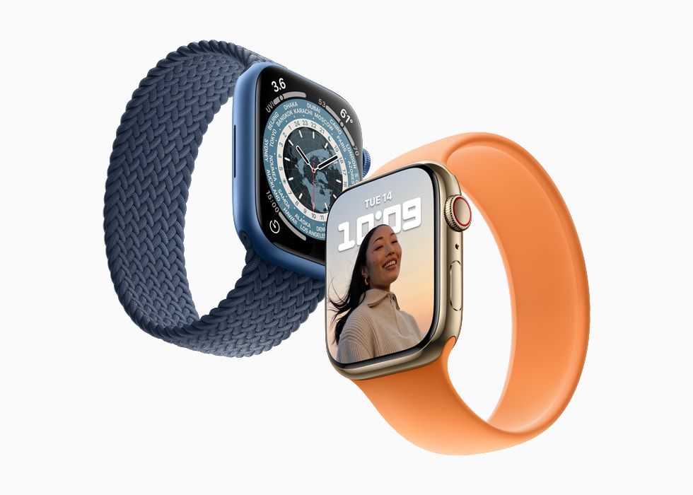 Apple Watch Series 7 is shown with two different band colors.