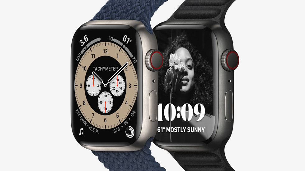 Apple Watch Series 7 is shown in titanium with the new Contour watch face.