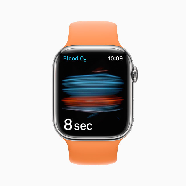 The Blood Oxygen sensor and app is shown on Apple Watch Series 7.