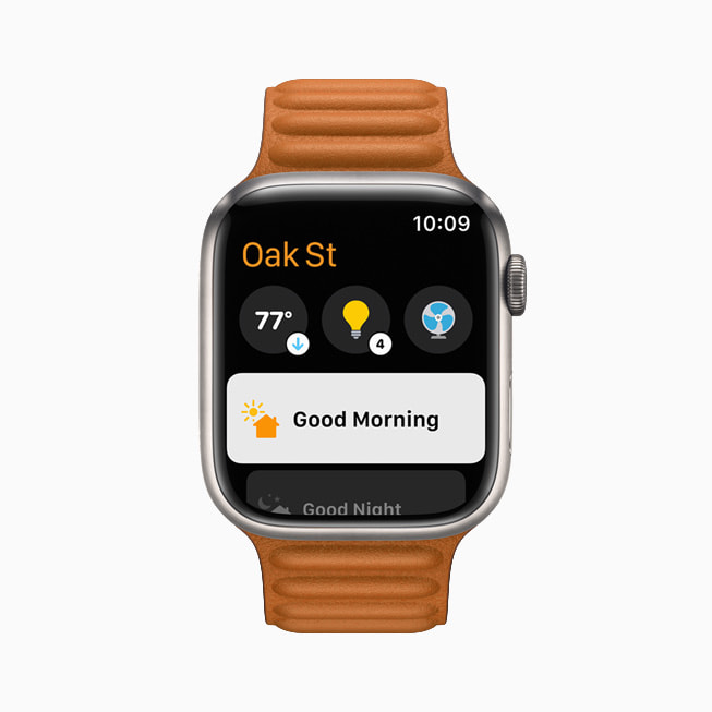 The Home app is shown in watchOS 8 on Apple Watch Series 7.