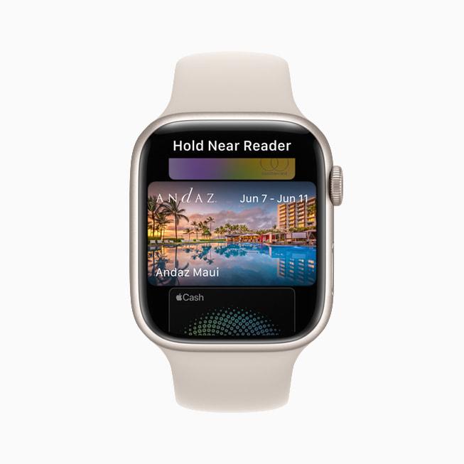 A user's hotel key is shown in Wallet on Apple Watch Series 7.