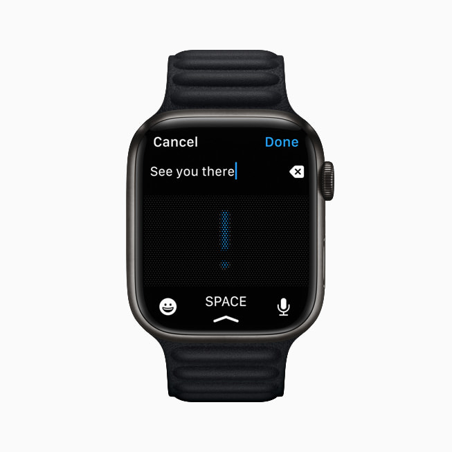 The Dictation function is shown in the Messages app on Apple Watch Series 7.