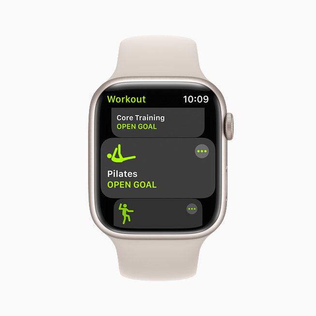 The Pilates workout type is shown on Apple Watch Series 7.