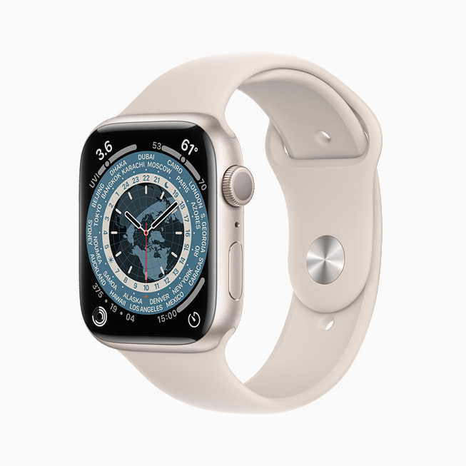 The World Time face is shown on Apple Watch Series 7.
