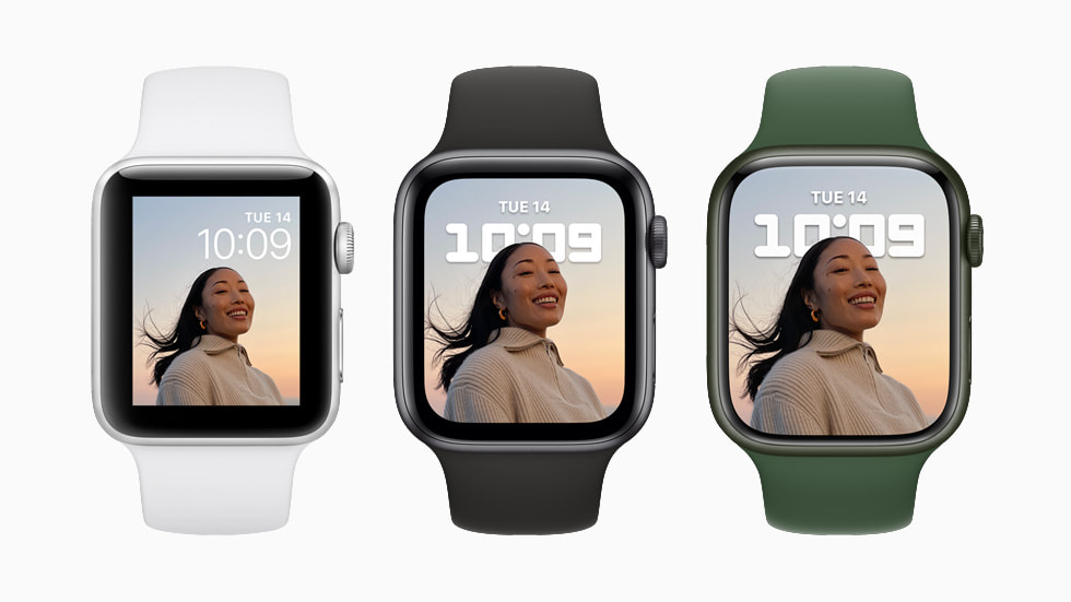 Apple Watch Series 7 is shown in three colorways with two different watch faces.
