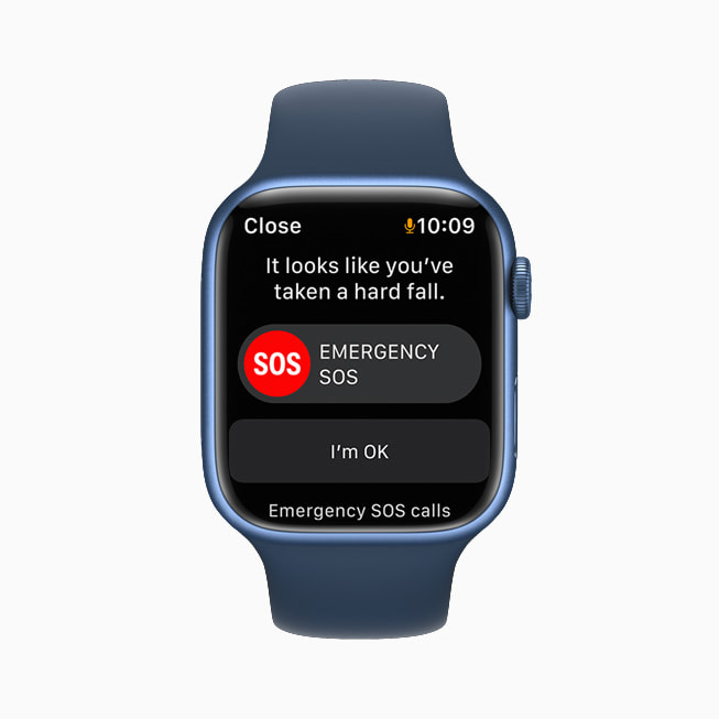 AppleWatchSeries7 shows a FallDetection alert asking the wearer if they've taken a hard fall and offering to make an emergency SOS call.