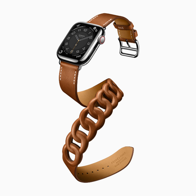 Apple Watch Series 7 is shown in the Hermès Gourmette Double Tour style.