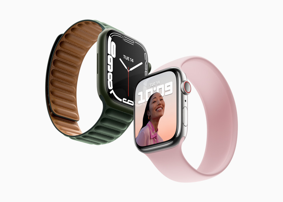 AppleWatchSeries7 shown with two different watch bands.