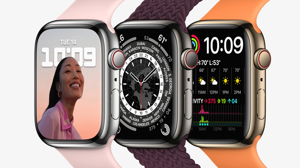 Three Apple Watch Series 7 are shown from an angled view that shows their front and left side.
