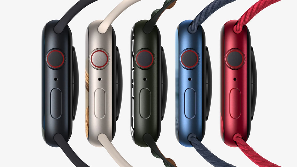 Five Apple Watch Series 7 are shown at an angle that shows their left side.