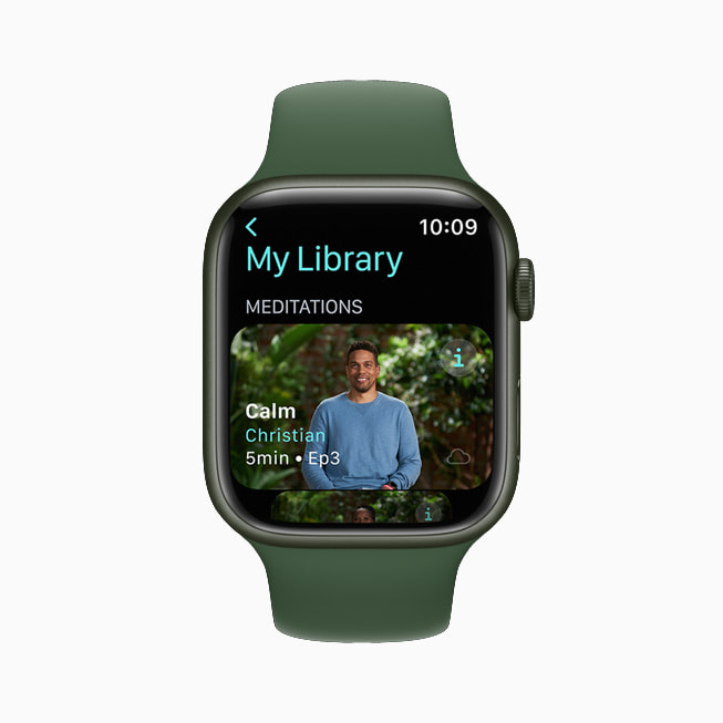 Apple Fitness+ trainer Christian is shown leading a Meditation on an Apple Watch Series 7 screen.