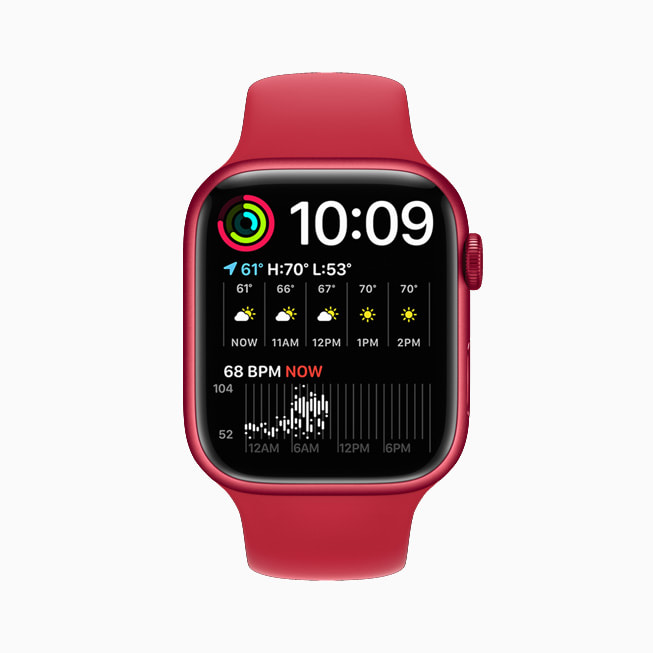 Apple Watch Series 7 is shown with the Modular Duo face.
