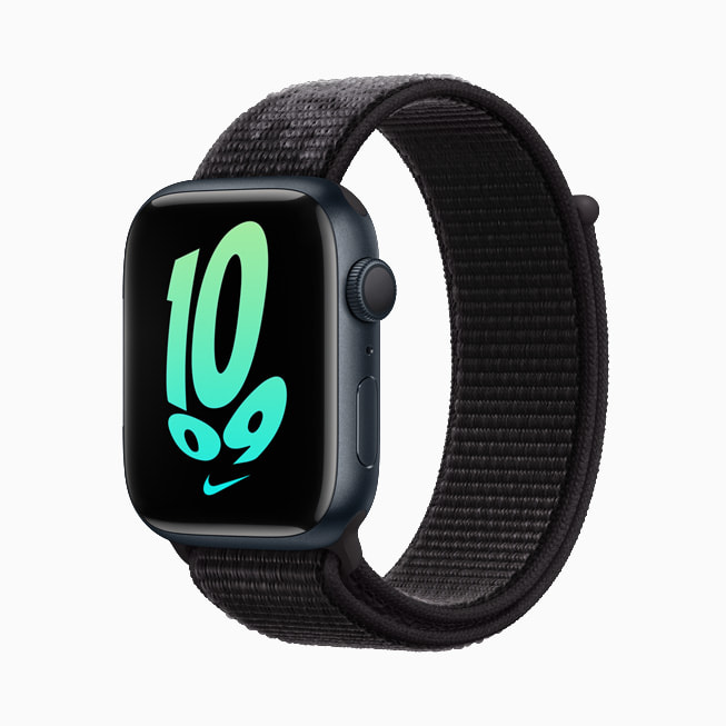 Apple Watch Series 7 is shown with a black Nike band.