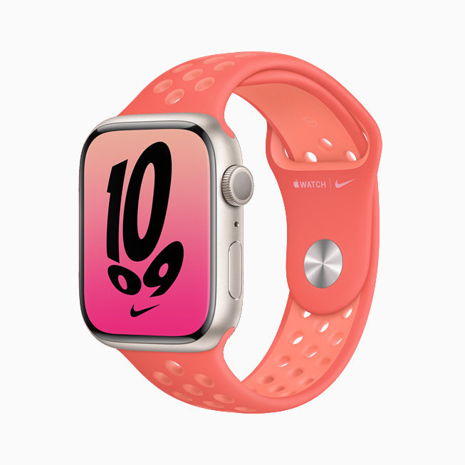 Apple Watch Series 7 is shown with a pink Nike band.