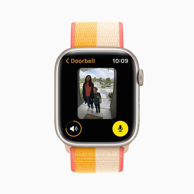 Apple Watch Series 7's screen with the Doorbell app showing.
