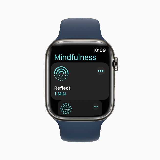 The new Mindfulness experience in watchOS 8 on their Apple Watch Series 7.