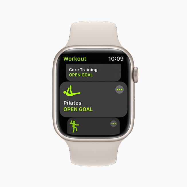 Apple Watch Series 7 showing the new Pilates workout.