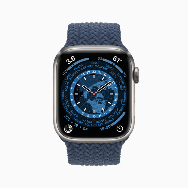 Apple Watch Series 7 is shown with the World Time face.