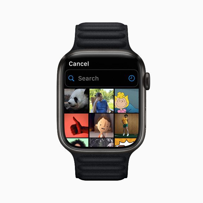 Un Apple Watch Series 7 con le opzioni per le GIF nell'app Messaggi.
