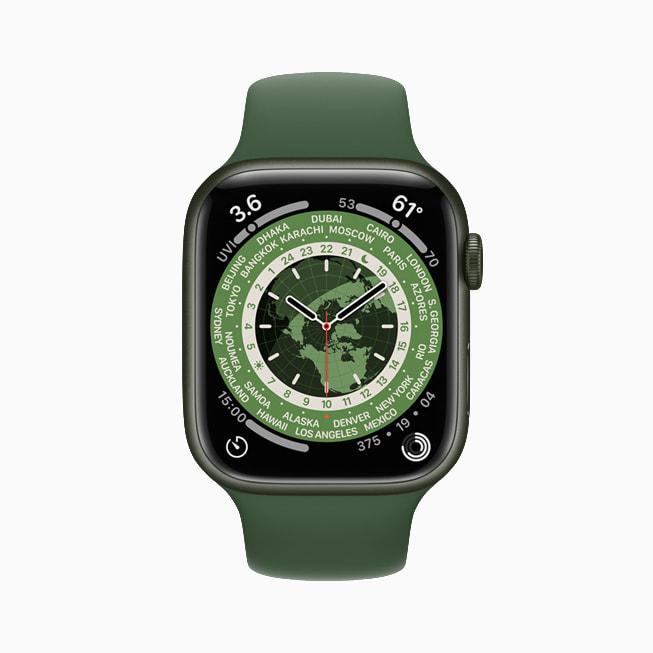 """Il quadrante """"Ore del mondo"""" di Apple Watch Series 7."""