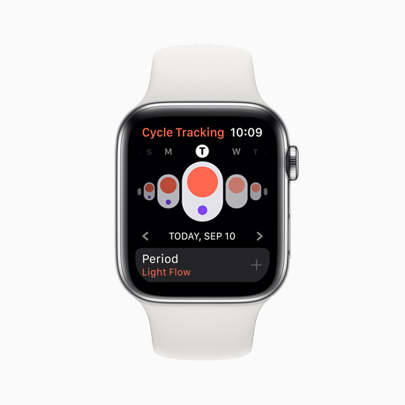 La aplicación Cycle Tracking que se muestra en Apple Watch Series 5.