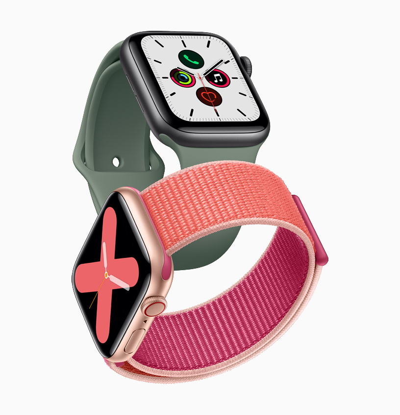 Two Apple Watch Series 5 watches.