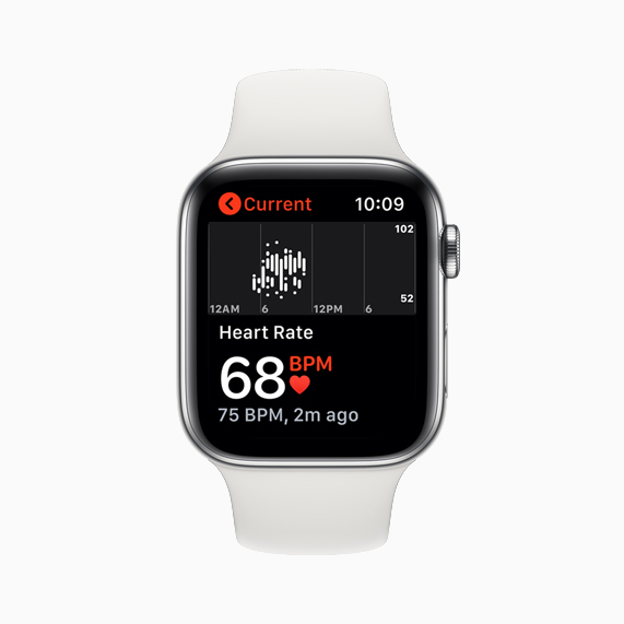A heart rate reading displayed on Apple Watch Series 5.
