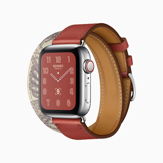 Das neue Color Block Armband mit Della Cavalleria Print an der Apple Watch Hermès.