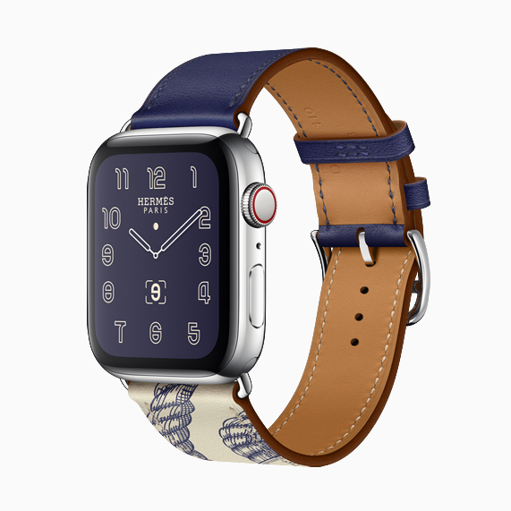 The new Della Cavalleria print colour block band on Apple Watch Hermès.