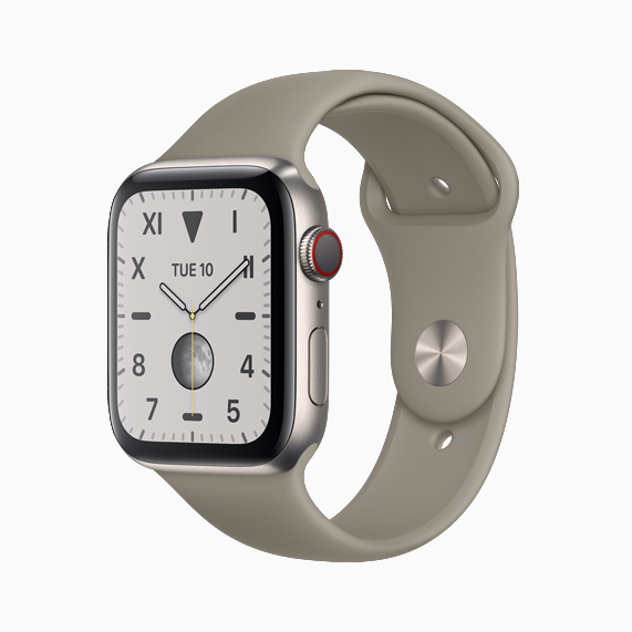 The natural brushed titanium Apple Watch Series 5.