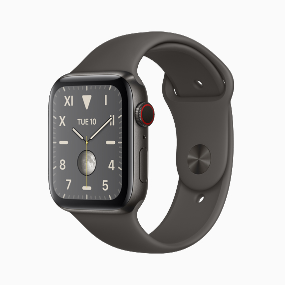 The space black titanium Apple Watch Series 5.