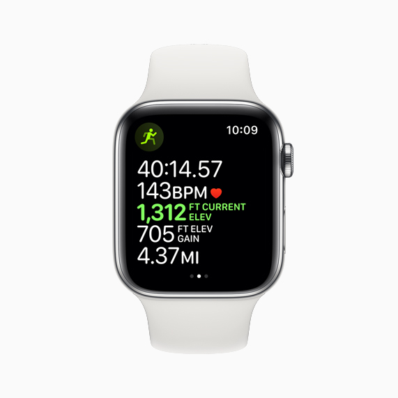 A workout screen displaying elevation and other data on Apple Watch Series 5.