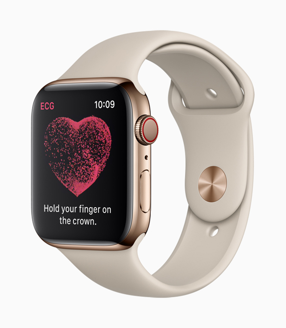 Apple Watch Series 4 screen instructing the wearer on how to take an ECG using the Digital Crown.