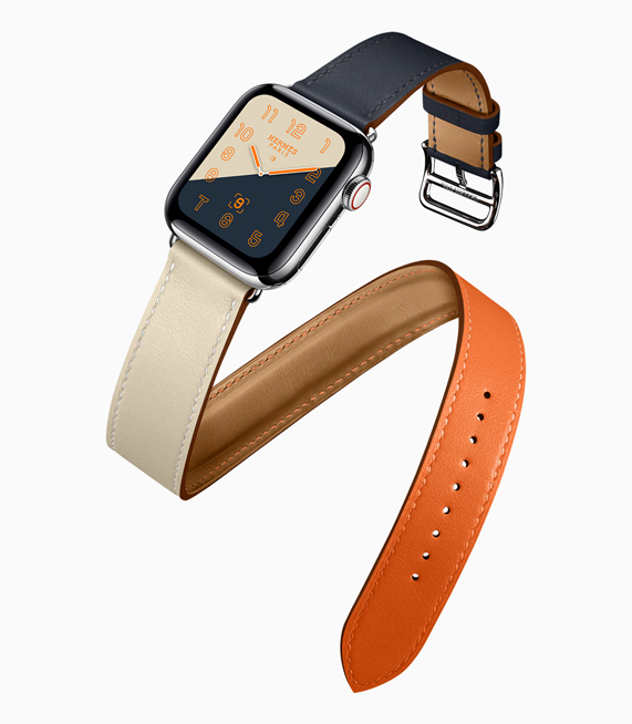 A profile shot of the new Apple Watch Hermès, featuring the colour-blocked watch face and band.