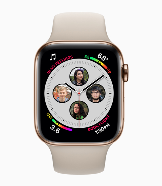 A photo of enhanced complications, including contacts, on Apple Watch Series 4.