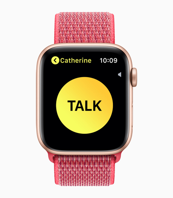 The Walkie-Talkie screen on Apple Watch Series 4.