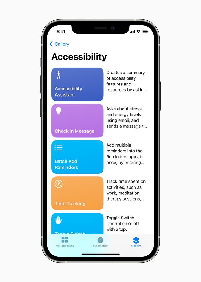 Assistant Accessibilité dans Raccourcis Siri sur un iPhone12Pro.