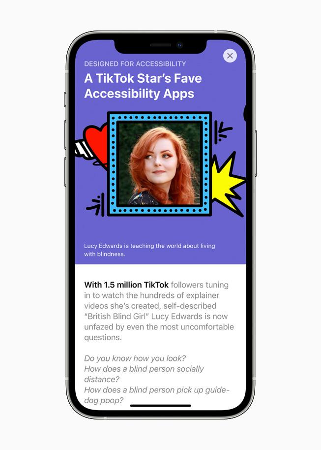 Gros plan sur les apps conçues pour l'accessibilité dans l'AppStore sur un iPhone12Pro.
