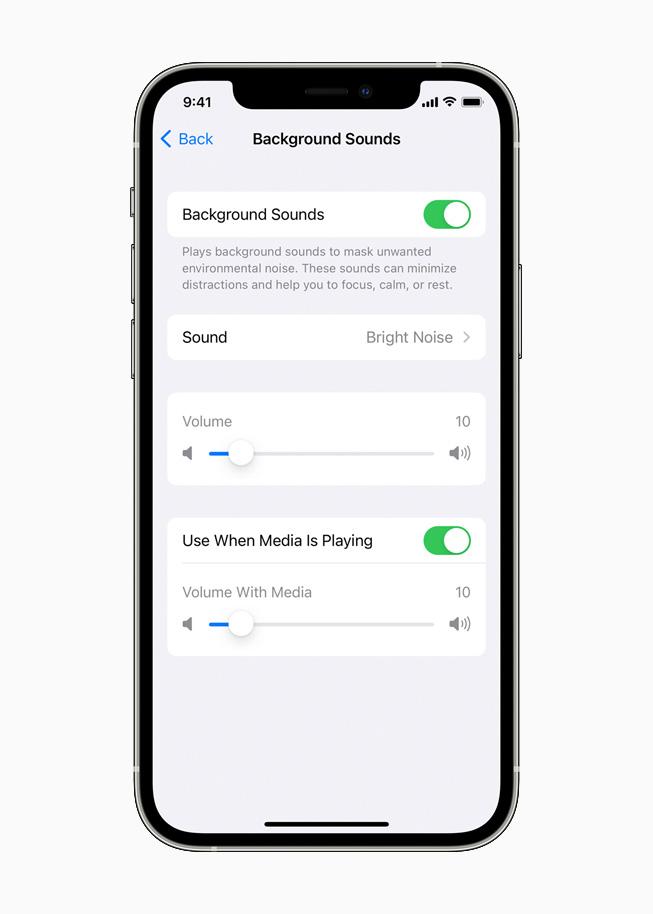 La fonctionnalité Fonds sonores sur un iPhone12Pro.