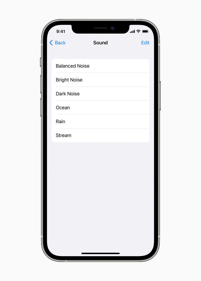 Les diverses options de fonds sonores s'affichant sur un iPhone12Pro.