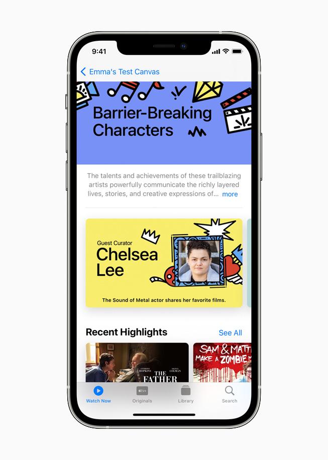 Collection présentée sur AppleTV sur un iPhone12Pro.