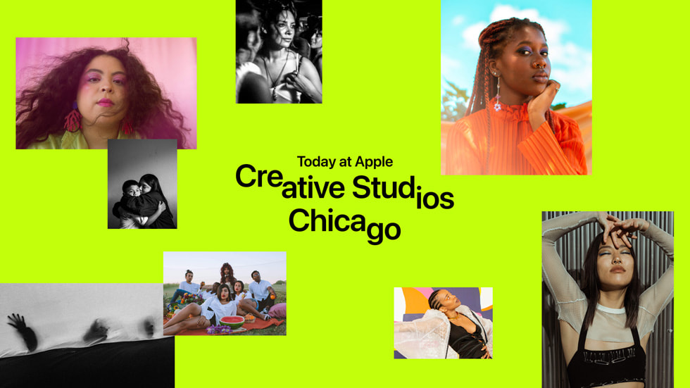 """A graphic with eight artist images reads """"Today at Apple Creative Studios Chicago."""""""