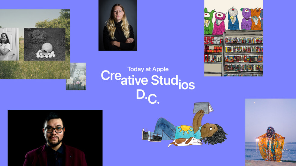 """A graphic with artist images reads """"Today at Apple Creative Studios D.C."""""""