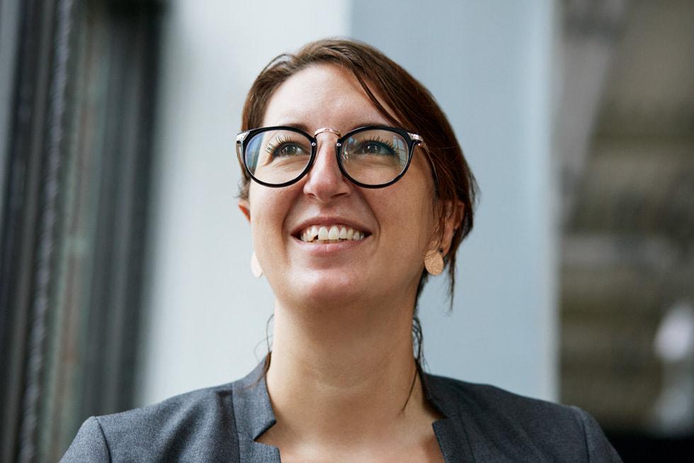 Foto de Sarah Greiter, líder de la Universidad Estatal de Michigan de la Academia de Desarrolladores de Apple de Detroit.
