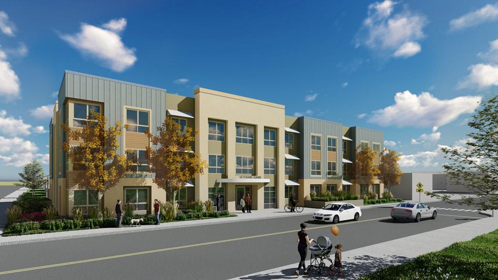 Rendering of Satellite Affordable Housing Associates' Veterans Square in Pittsburg, California.